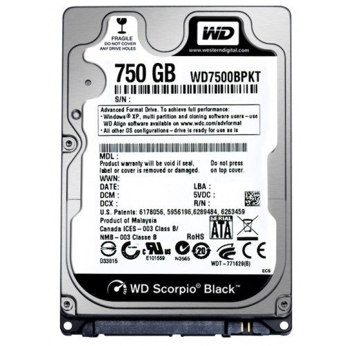 Western Digital Wd Hdd Mobile Black (2.5 750gb 16mb 7200 Rpm  Sata)