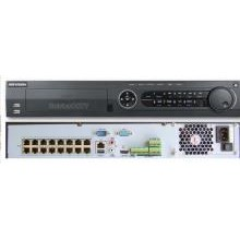 Hikvision Hikvision Nvr Ds-7716ni-e4/16p  100mbps Bit Rate Input Max(up To 16-ch Ip Video)  4 Sata Interfaces  16 Independent Poe Network Interfaces  Alarm I/o: 16/4  1.5u Case 19
