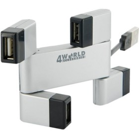 4world Hub Usb Folded 4 Porturi Color  Argintiu