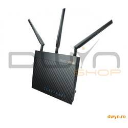 ASUS, Router Wireless AC1750 Dual-band 1300+450 Mbps, 2.4GHz/5GHz concurrent, Gigabit, ASUS AiCloud,