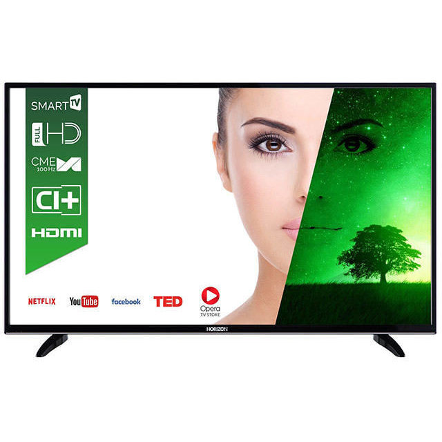 Horizon LED TV HORIZON 49HL7330F, 48, 124 cm, DLED / FHD / Smart TV (WiFi built-in) + DTS / 100Hz (CME) / USB Player (mpeg4, mkv) / VeryNarrow (12mm) / Double Neck-Foot Stand / Black
