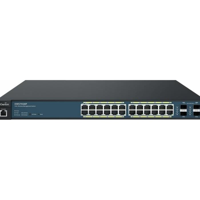 ENGENIUS Wireless Management 50AP 24-port GbE PoE.at Switch 185W 4SFP L2 19i, EnGenius EWS7928P (inc