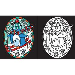 Christmas stained glass colouring - Carte Usborne (5+)