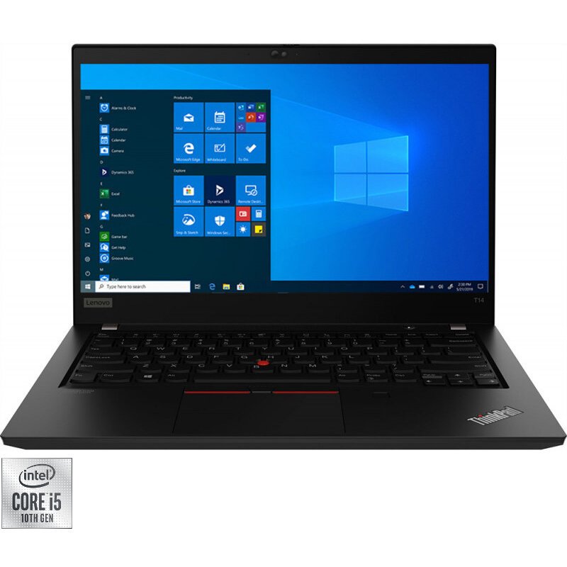 Lenovo Laptop Lenovo 14'' ThinkPad T14 Gen 1, FHD IPS Touch, Procesor Intel® Core™ i5-10210U (6M Cache, up to 4.20 GHz), 8GB DDR4, 512GB SSD, GMA UHD, Win 10 Pro, Black