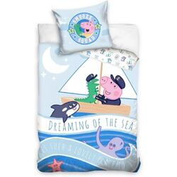 Set lenjerie Peppa Pig Dreaming of the Sea SunCity, 100 x 135 cm, bumbac, 2 piese, Multicolor