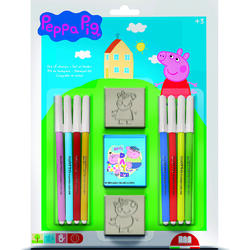 Set pictura 11 piese, 2 stampile, tus si 8 carioci Peppa Pig Multiprint MP26875