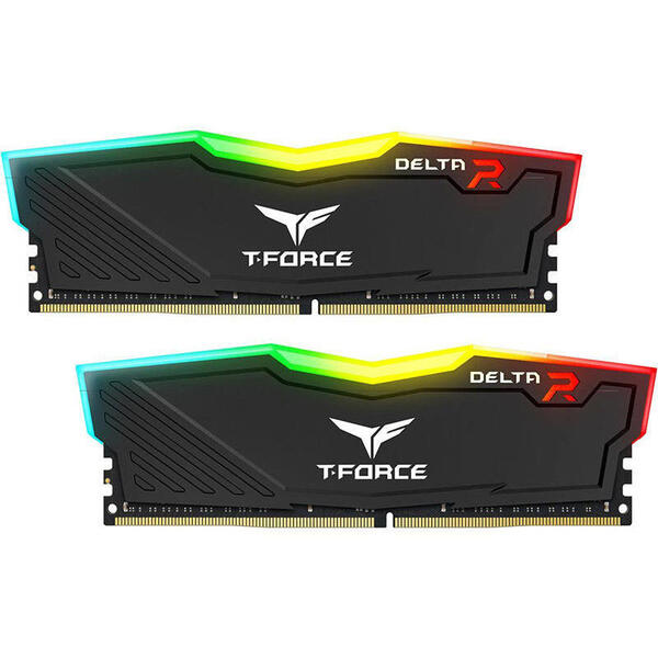 Memorie TeamGroup T-Force Delta RGB Black 32GB (2x16GB) DDR4 3600MHz CL18 1.35V Dual Channel Kit