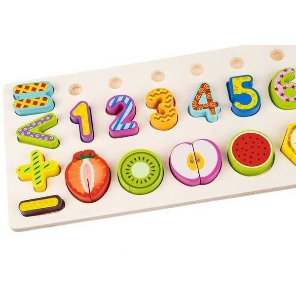 Puzzle lemn cu cifre si fructe Iso Trade MY17665