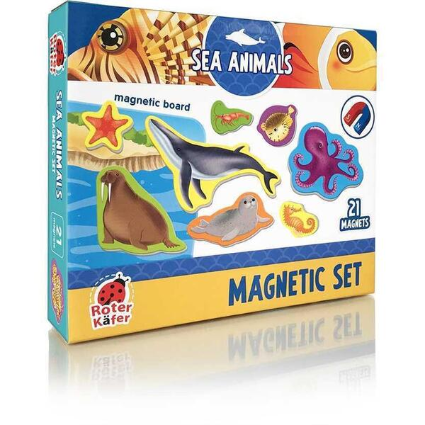 Set magnetic Animale Marine cu Plansa magnetica inclusa, 21 piese Roter Kafer RK2090-05