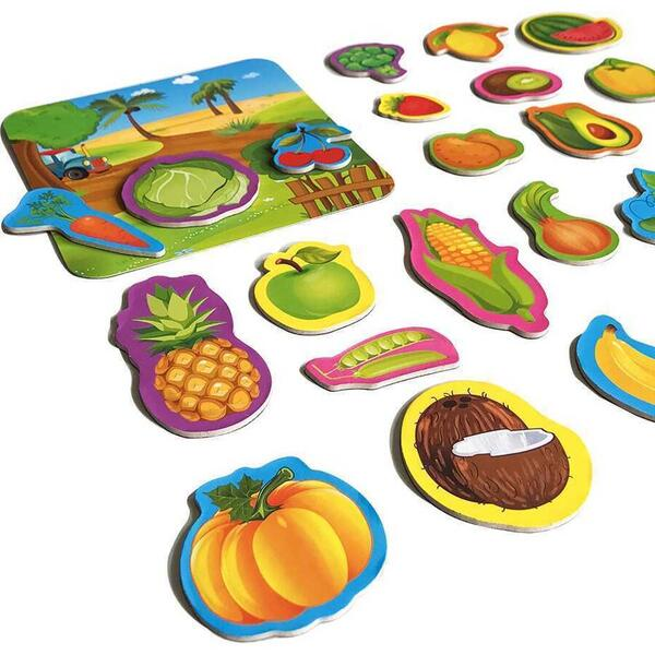 Set magnetic Fructe si Legume cu Plansa magnetica inclusa, 24 piese Roter Kafer RK2090-06