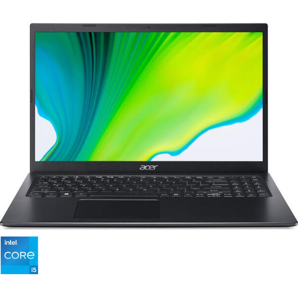 Laptop Acer 15.6'' Aspire 5 A515-56, FHD IPS, Procesor Intel® Core™ i5-1135G7 (8M Cache, up to 4.20 GHz), 8GB DDR4, 256GB SSD, Intel Iris Xe, No OS, Charcoal Black