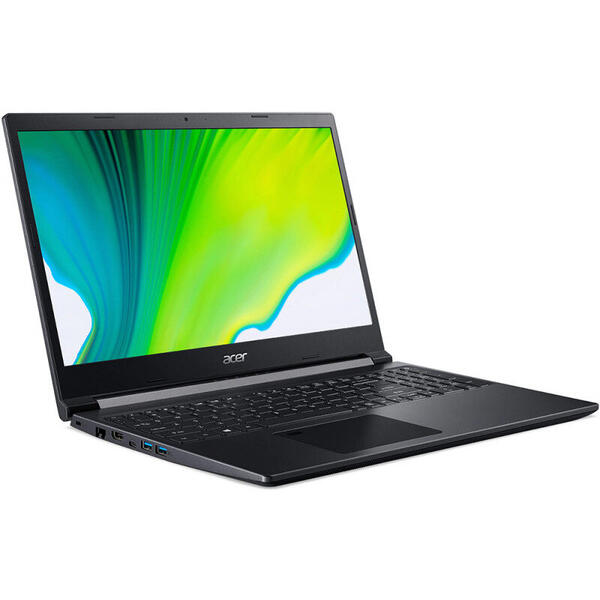 Laptop Acer Gaming 15.6'' Aspire 7 A715-75G, FHD IPS, Procesor Intel® Core™ i7-10750H (12M Cache, up to 5.00 GHz), 8GB DDR4, 1TB SSD, GeForce GTX 1650 Ti 4GB, No OS, Black