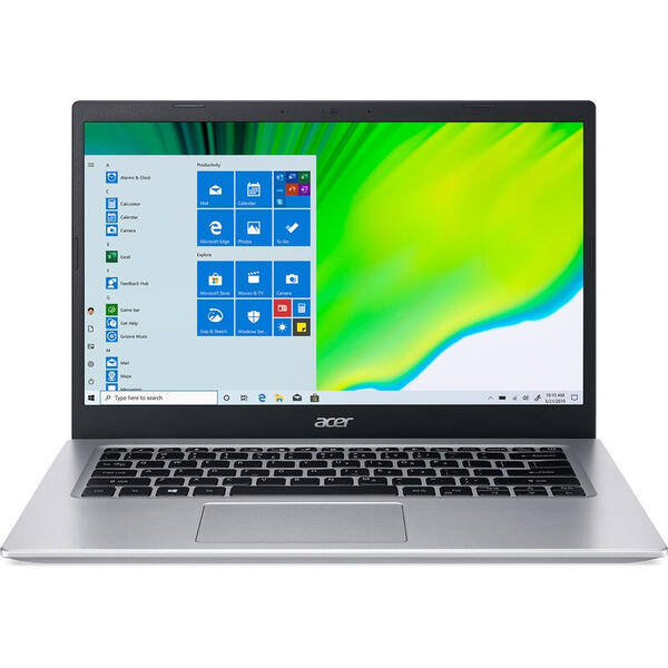 Laptop Acer 14'' Aspire 5 A514-54, FHD, Procesor Intel® Core™ i3-1115G4 (6M Cache, up to 4.10 GHz), 8GB DDR4, 256GB SSD, GMA UHD, Win 10 Home, Pure Silver