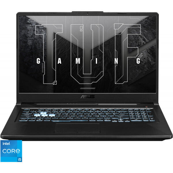 Laptop ASUS Gaming 17.3'' TUF F17 FX706HC, FHD 144Hz, Procesor Intel® Core™ i5-11400H (12M Cache, up to 4.50 GHz), 8GB DDR4, 512GB SSD, GeForce RTX 3050 4GB, No OS, Graphite Black