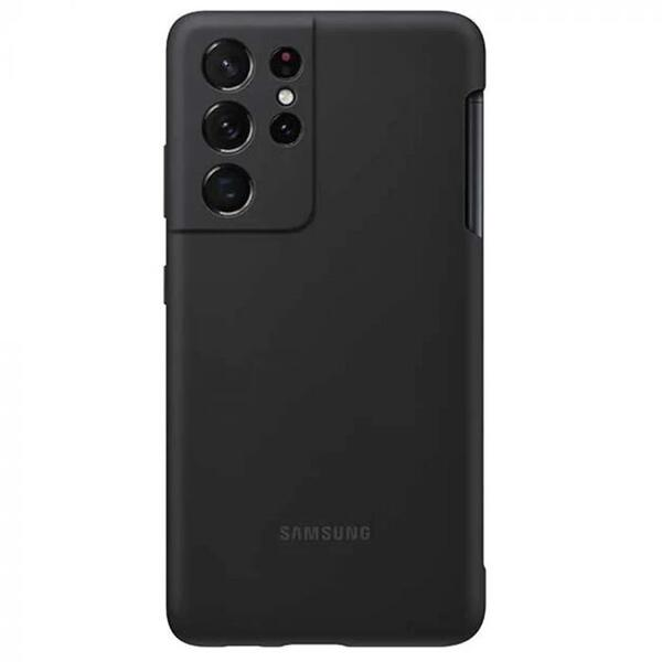 Husa Protectie Spate Samsung Galaxy S21 Ultra G998 Silicone Cover with S Negru